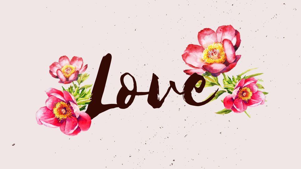Открытка со словом любовь и акварельным рисунком цветов