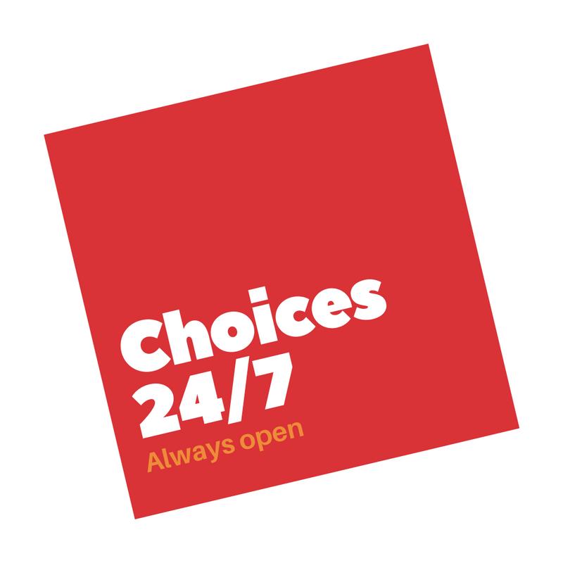 Логотип круглосуточного супермаркета с красным квадратом и белым текстом