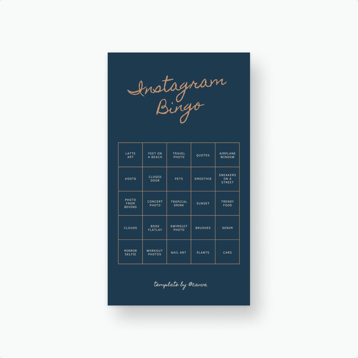 Instagram bingo card