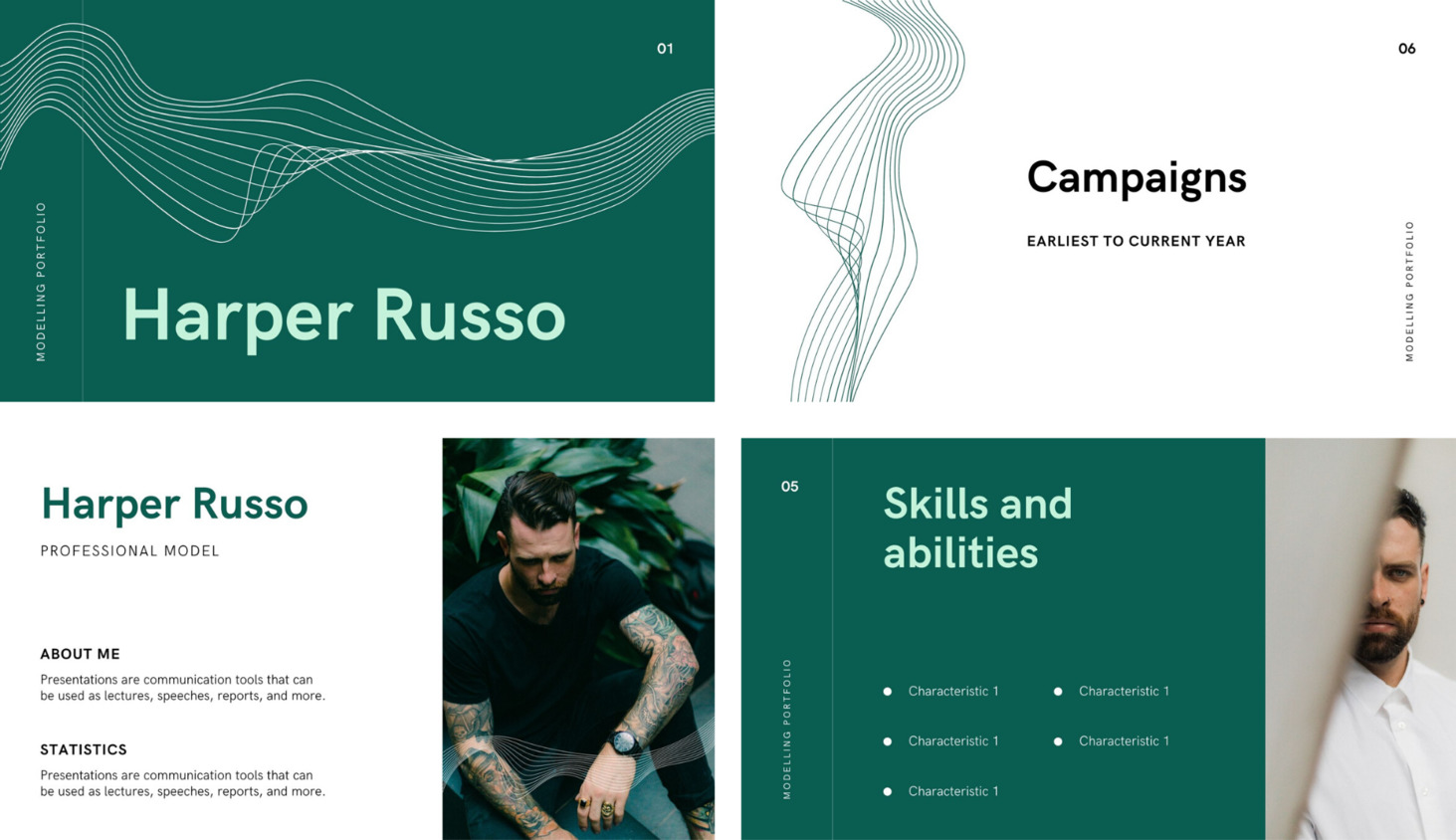 Образец портфолио для маркетолога с зеленым фоном и фото